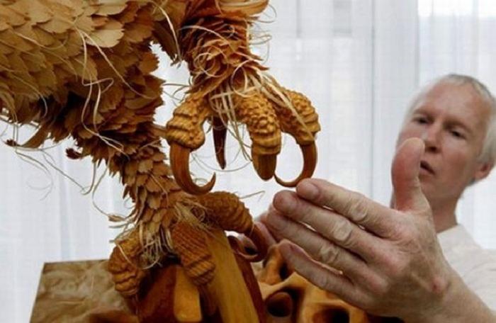 Трехмерные скульптуры из кедровых стружек от Сергея Бобкова.