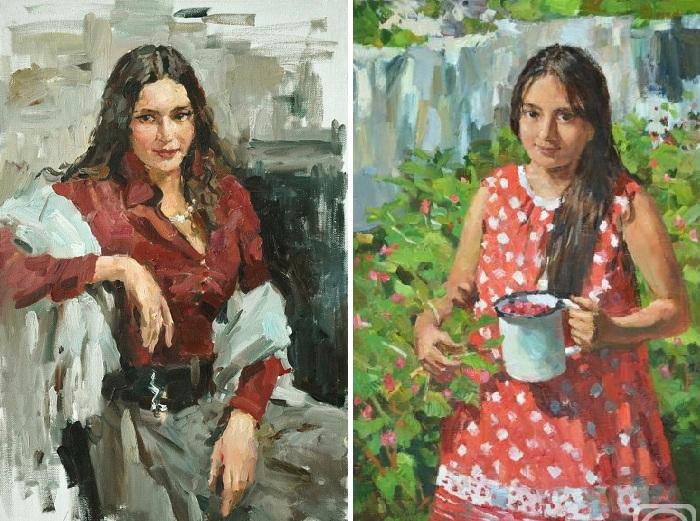 Портреты жены и дочери художника.