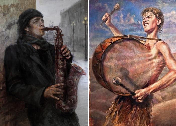 «Ржавый блюз». / «Барабанщик». Реалистический сюрсимволизм от Андрея Шатилова.