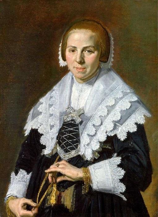 Портрет стоящей женщины с веером в левой руке. (1643 год.) Автор: Франс Хальс.