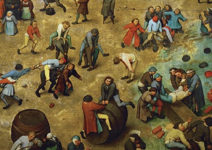 «Игры детей». Фрагмент.  Рыцарский турнир поперетягиванию ремня на«конях». «Чехарда». Бросание шляпы через ноги играющего. Верховая езда набочке.