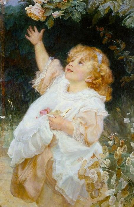 Девочка с розой. Автор: Фредерик Морган.