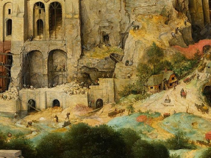 «Вавилонская башня». Фрагмент. (Кажущаяся прочной башня вот-вот рухнет ипогребет под своими обломками загордившихся людей)