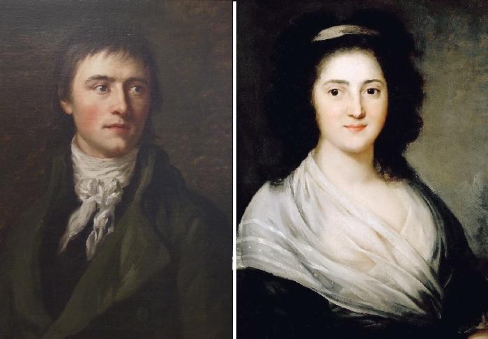 Генрих фон Клейст (1777-1811). (1808 год). / Портрет Генриетты Герц. Художник: Anton Graff.