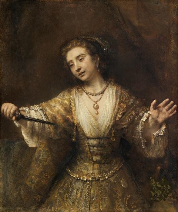Самоубийство Лукреции. (1664 год). /1-я версия/. Автор: Рембрандт Харменс ван Рейн.