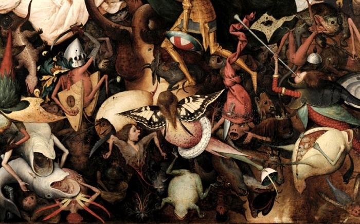 «Падение мятежных ангелов». Фрагмент. (Фигуры в аду целиком теряют человеческий облик и превращаются в ужасных монстров с огромными пастями и клешнями.)