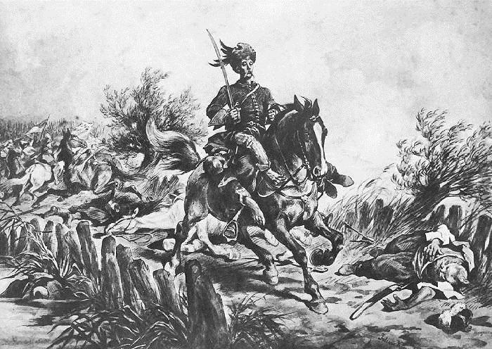 Подбипятка с захваченным Полуяном. Иллюстрации к роману «Огнем и мечом» Юлиуша Коссака.