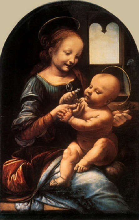 «Мадонна с цветком». (ок. 1478—1480). Автор: Леонардо да Винчи.