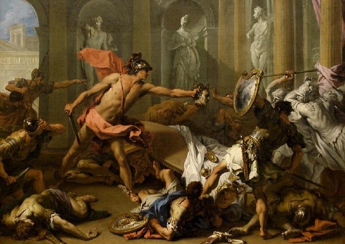 Персей обращает Финея в камень. (1705-1710). Автор: Ricci Sebastiano. Риччи Себастьяно.