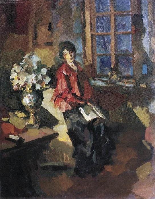 Актриса Надежда Комаровская. Портрет, женщина с книгой. Автор Константин Коровин.