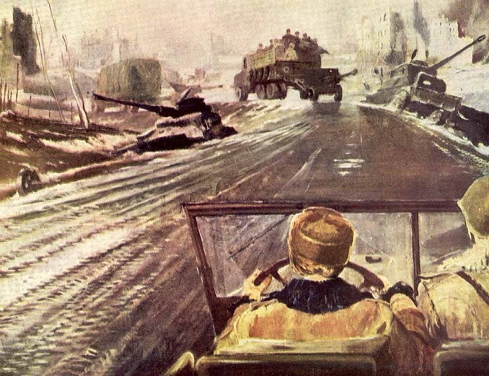 «Фронтовая дорога». Автор: Юрий Пименов.