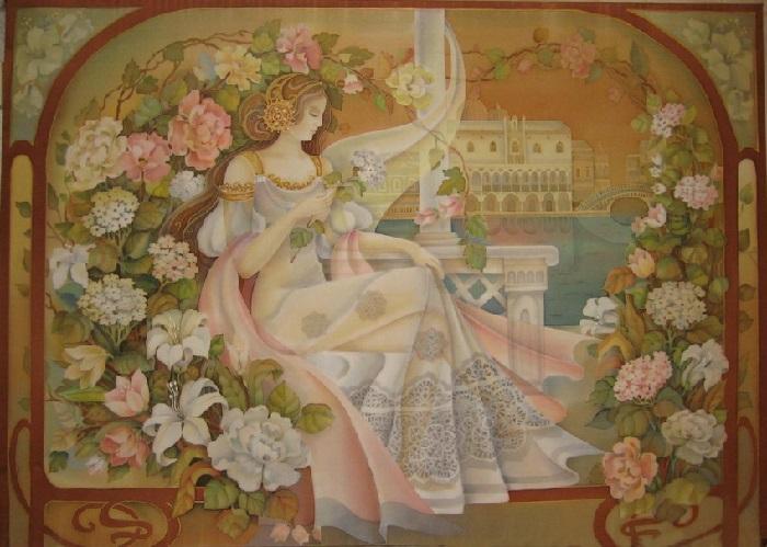 «Вишневый вечер». Роспись по шелку (батик). Автор: Любовь Тощева.