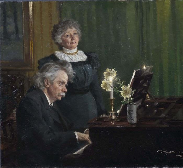 Эдвард Григ, аккомпонирующий своей жене Нине. (1892 год).  Масло на холсте. Художник: Педер Северин Крёйер.