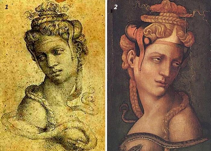 1. Микеланджело Буонаротти «Голова Клеопатры». (1533/34).<br>2. Джорджо Вазари «Голова Клеопатры». (1550).