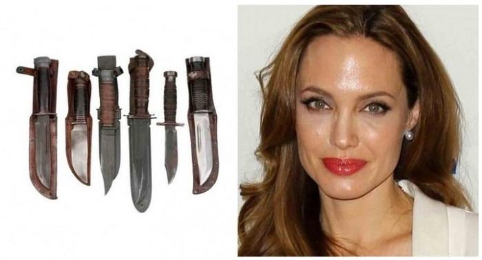 Страсть к ножам и кинжалам Анжелины Джоли.