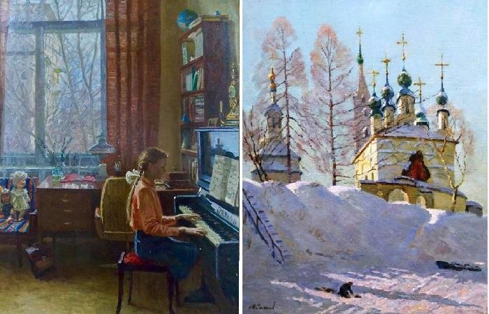 Уроки музыки. / Зимний пейзаж. Автор: Соломин Николай Николаевич.