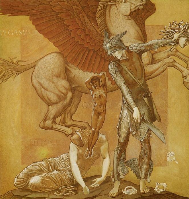 Рождение Хрисаора и Пегаса из крови горгоны Медузы .