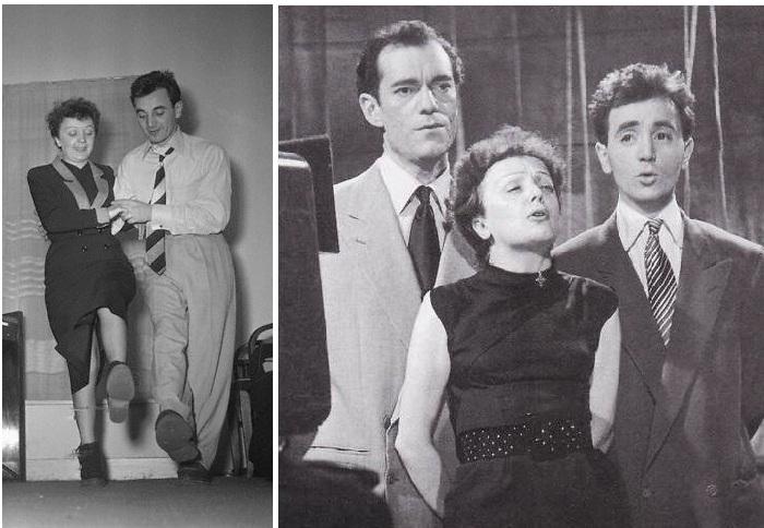 Эдит Пиаф с Ш.Азнавуром и Э. Константином, 1950-е годы.