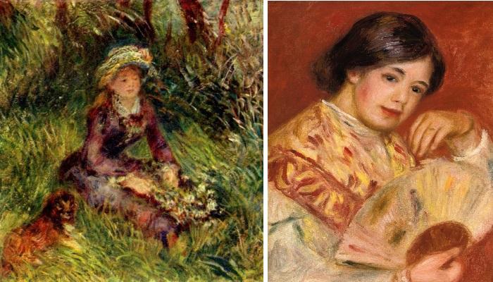 «Madame Renoir au chien», 1908 г. / Девушка с веером. (1906 г.)