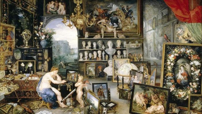 Аллегория зрения. (1617 год). 65 х 110 см. Прадо, Мадрид, Испания. Питер Пауль Рубенс, Ян Брейгель Старший.