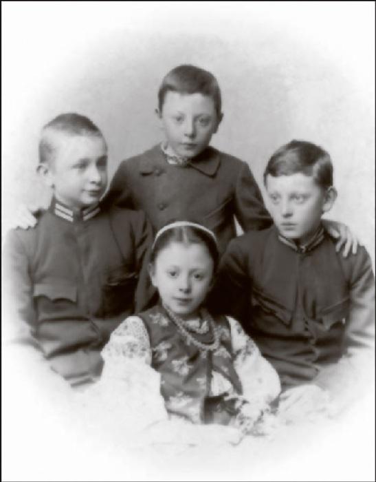 Дети Ольги и Ивана Франко: Андрей, Тарас, Петр и Анна. 1902 год