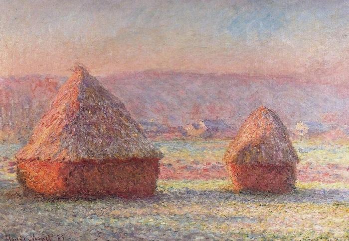 Стог сена утром, эффект инея. (1891 год). Автор: К.Моне.