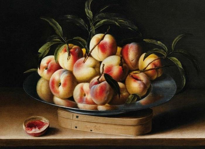 Натюрморт с персиками на оловянном блюде. 49 х 65 Дерево,масло. Частное собрание. Автор: Луиза Муайон.