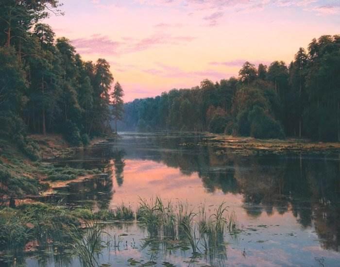 Вечер на озере. Автор: Сергей Басов.
