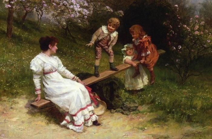 Дети на качелях. Автор: Фредерик Морган.