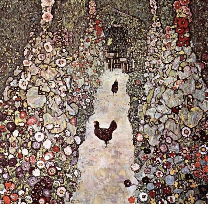Сад с петухами. (1917год).  Автор: Gustav Klimt.