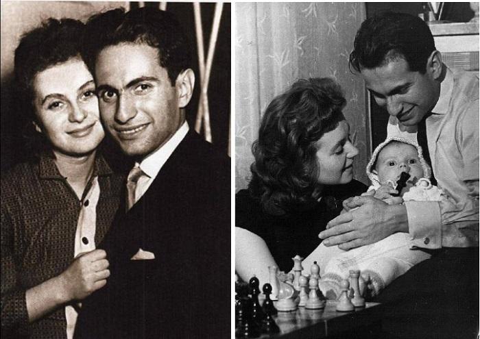 Салли Ландау и Михаил Таль с сыном.