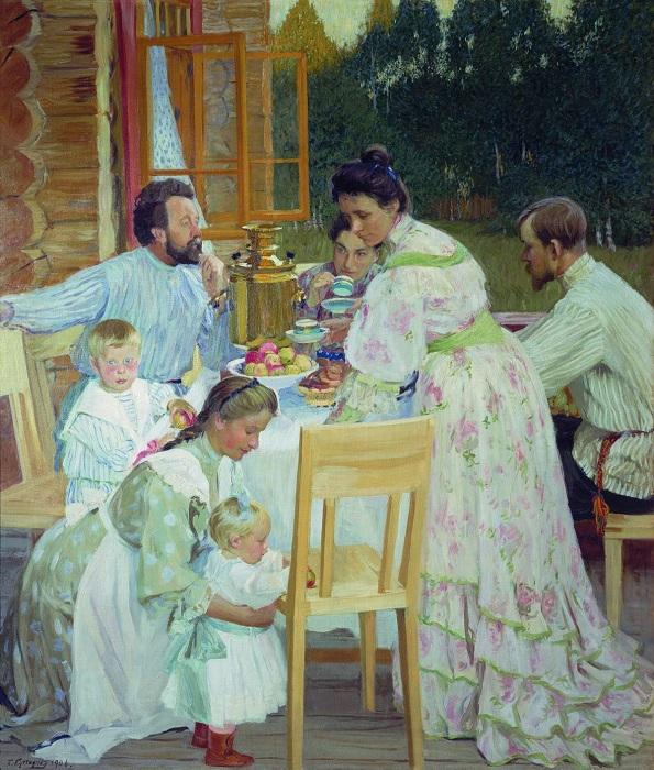 На террасе. 1906, Нижегородский Художественный Музей. Автор: Борис Кустодиев.