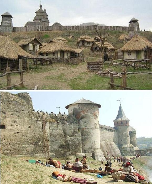 Запорожская Сечь на острове Хортица./ Замок под Хотином.