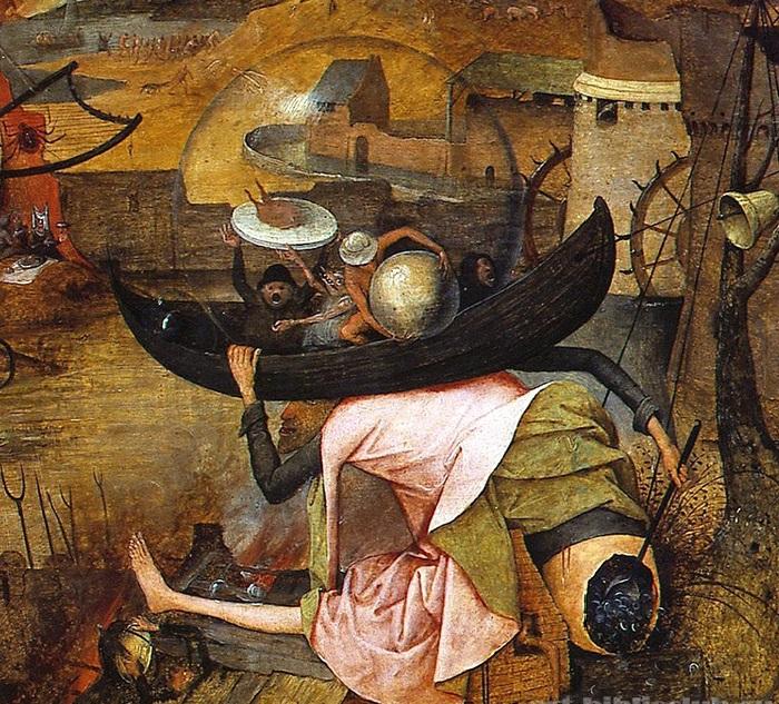 «Безумная Грета». Фрагмент. (Ведьма сидя на крыше горящего каменного дома, черпаком на длинной рукоятке выгребает монеты из своего зада и сыплет их вниз, в толпу мелких женских фигурок...)