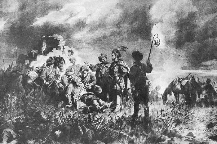 Отряд Скшетуского и спасённый Хмельницкий. Иллюстрации к роману «Огнем и мечом» Юлиуша Коссака.