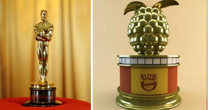 Символические статуэтки «Оскар» и «Золотая малина».