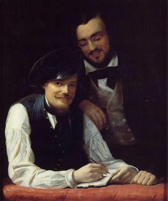 Автопортрет со своим братом Германом (1808—1891), также художником.
