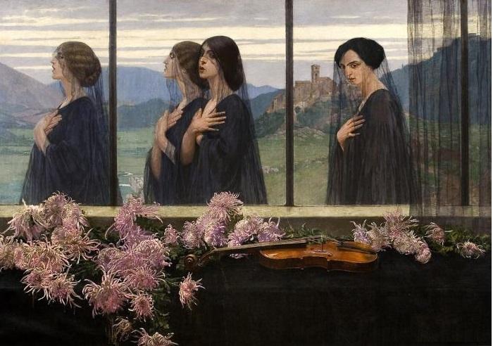 Четыре струны скрипки (Похороны скрипача). 1914 г. Художник: Эдвард Окунь