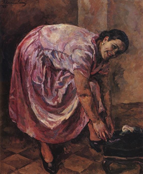 Портрет Н.П. Кончаловской в розовом платье. 1925 год. Автор: П. П. Кончаловский.