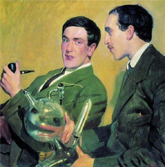 Портрет профессоров П.Л.Капицы и Н.Н.Семенова. (1921 год.) Художник Борис Кустодиев.