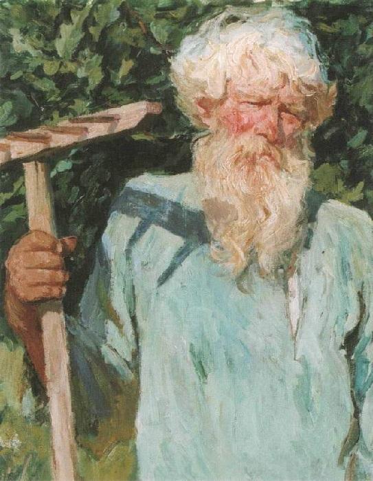 «Петр Григорьевич Черняев с граблями». (1940 год). Автор: А.А.Пластов.