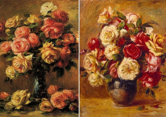 Розы в вазе. (1910 г.)Эрмитаж./    Букет роз. Франция, ок. 1909-1913 гг. Автор: Пьер Огюст Ренуар.