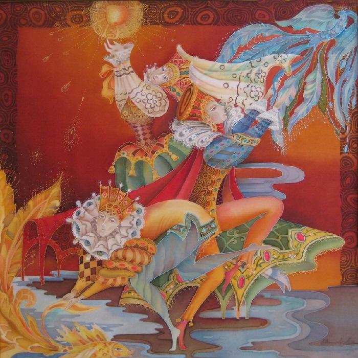 «Ловцы счастья». Роспись по шелку (батик). Автор: Любовь Тощева.