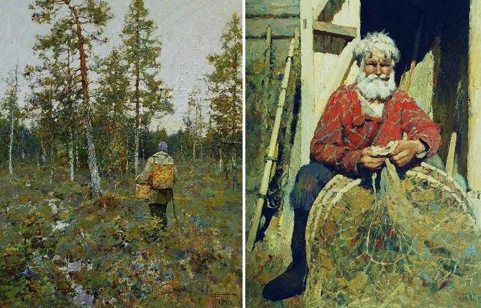 За грибами. / Заядлый рыбак. Художник: Юрий Васендин.