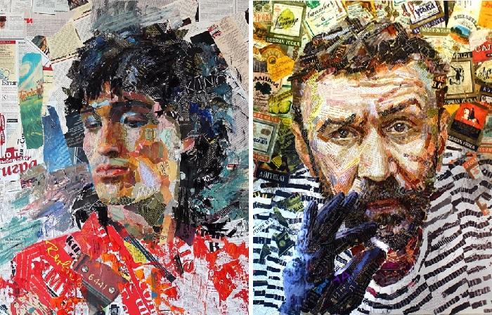 «Виктор Цой». /  «Шнур». Портреты в стиле APP.ART от Андрея Шатилова.
