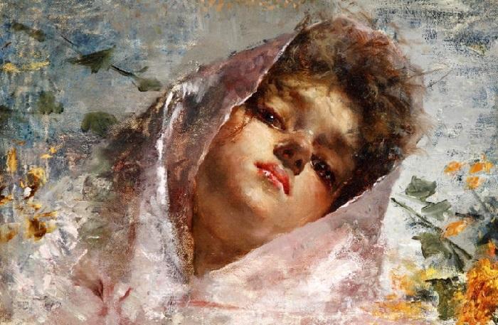 Портрет молодой женщины с розовым шарфом (Portrt einer jungen Frau mit rosa Schal). Автор: Винченцо Иролли.| Фото: gallerix.ru.