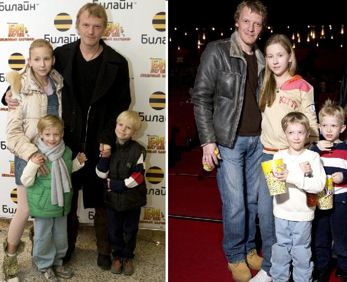 Алексей Серебряков со своими детьми.