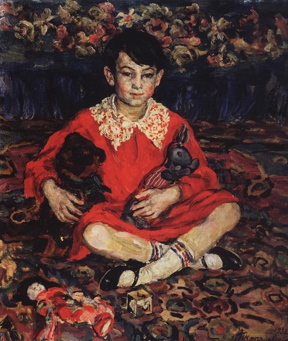 Портрет Камушки Бенедиктовой на пестром ковре с игрушками. 1931 год.  Автор: П. П. Кончаловский.