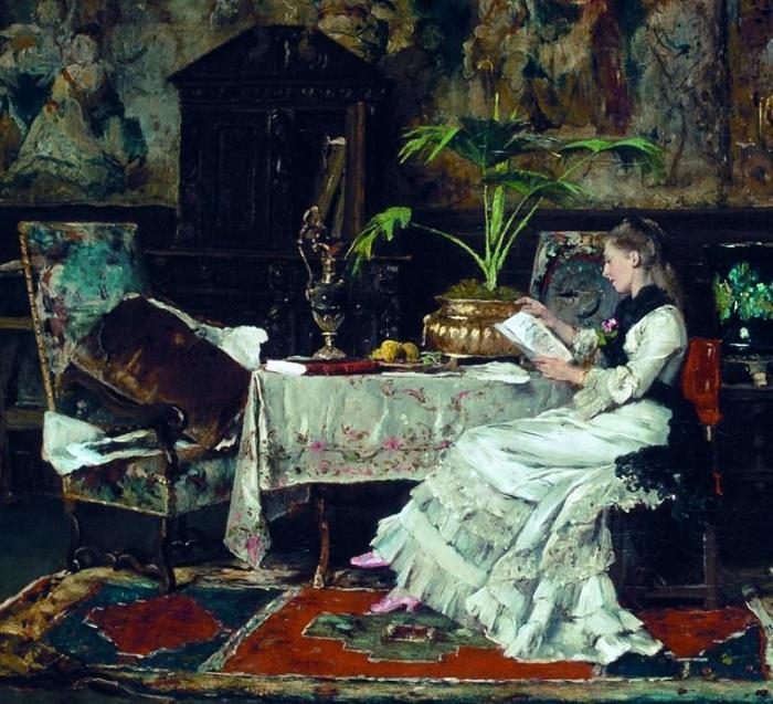 «Парижский интерьер». (1877 год). Автор: Михай Мункачи.