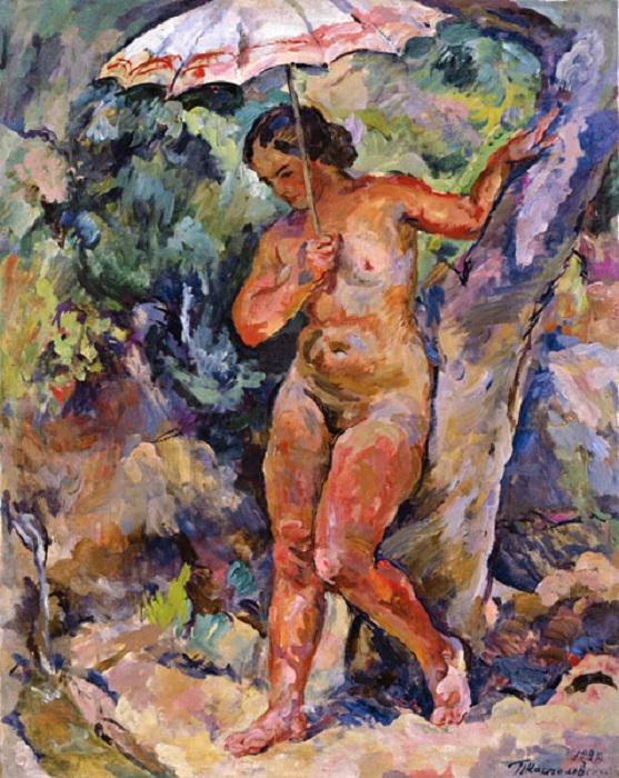Девушка под зонтиком. 1929 год.  Автор: П. П. Кончаловский.